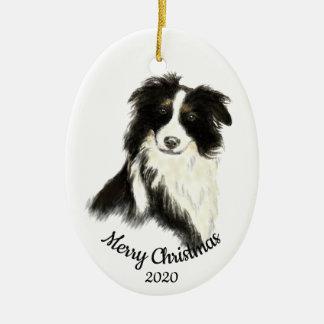 Ornement Ovale En Céramique Chien daté de border collie d'aquarelle de Noël