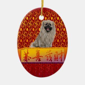 Ornement Ovale En Céramique Chien de Pekingese la nouvelle année chinoise