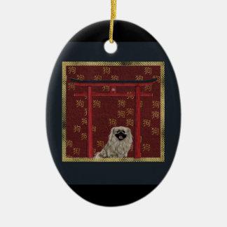 Ornement Ovale En Céramique Chien de Pekingese, voûte asiatique rouge, signe