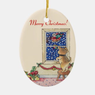 Ornement Ovale En Céramique chiot mignon saluant père Noël dans Noël de neige