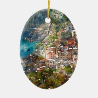 Ornement Ovale En Céramique Cinque Terre en Italie