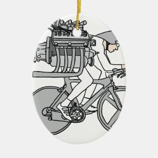 Ornement Ovale En Céramique Circuler en voiture de bicyclette