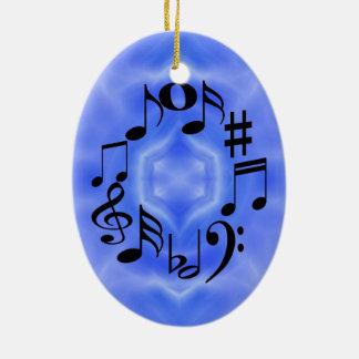 Ornement Ovale En Céramique Clés noires de note de musique