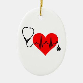 Ornement Ovale En Céramique Coeur de battement de coeur de stéthoscope