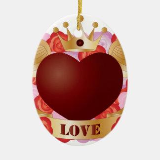 Ornement Ovale En Céramique Coeur de vol avec la bannière et les roses