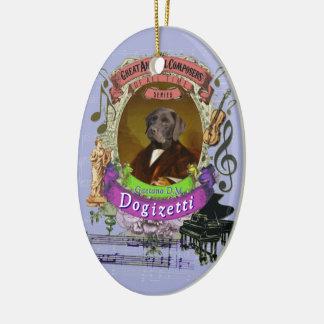 Ornement Ovale En Céramique Compositeur animal Donizetti de chien de Gaetano