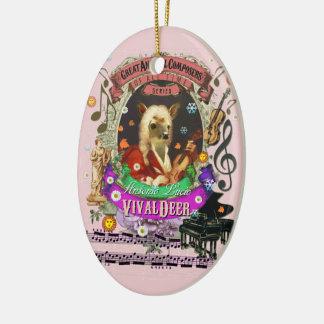 Ornement Ovale En Céramique Compositeur animal Vivaldi de cerfs communs