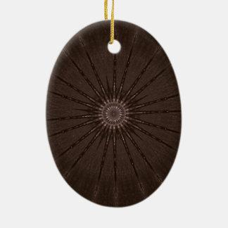 Ornement Ovale En Céramique Conception Brown rustique de kaléidoscope