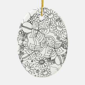 Ornement Ovale En Céramique Conglomération des fleurs