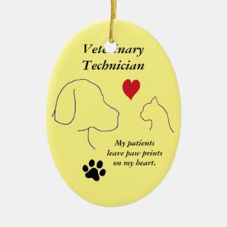 Ornement Ovale En Céramique Copies de Technicien-Patte de vétérinaire sur mon