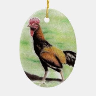 Ornement Ovale En Céramique Coq