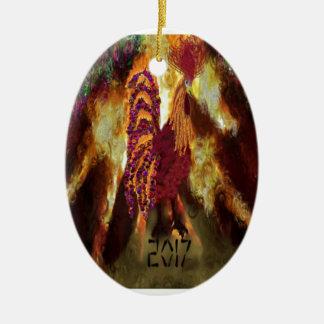 Ornement Ovale En Céramique Coq 2017 du feu