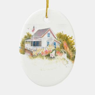 Ornement Ovale En Céramique Cottage J Kilburn de Monhegan