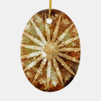 Ornement Ovale En Céramique Couleurs d'or chaudes cosmiques de Brown d'univers