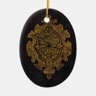 Ornement Ovale En Céramique Couverture de livre en cuir