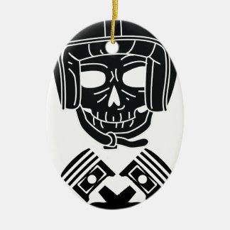 Ornement Ovale En Céramique Crâne de casque de moto