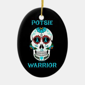 Ornement Ovale En Céramique Crâne… P.O.T.S. de guerrier/sucre