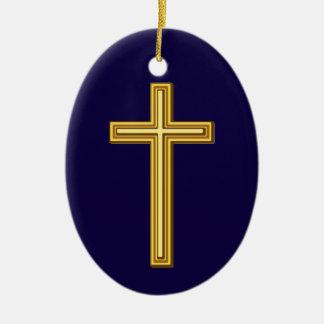 Ornement Ovale En Céramique Croix chrétienne d'or contre bleu-foncé