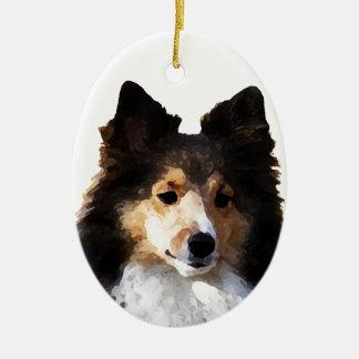 Ornement Ovale En Céramique Croquis de peinture de chien de Sheltie
