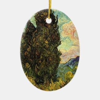 Ornement Ovale En Céramique Cyprès de Van Gogh, beaux-arts vintages de paysage