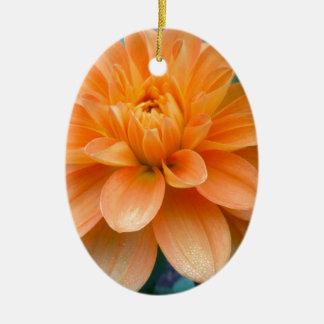 Ornement Ovale En Céramique Dahlia orange