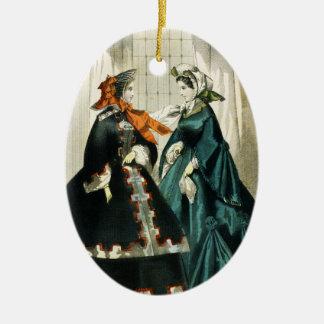 Ornement Ovale En Céramique Dames de fantaisie victoriennes vintages Edwardian