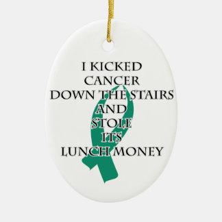 Ornement Ovale En Céramique Despote de Cancer (ruban turquoise)