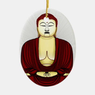 Ornement Ovale En Céramique Dessin de Bouddha