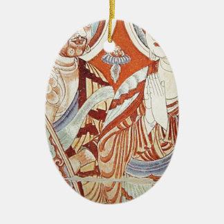 Ornement Ovale En Céramique Dessin des moines bouddhistes asiatiques centraux