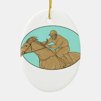 Ornement Ovale En Céramique Dessin ovale de course de chevaux de jockey