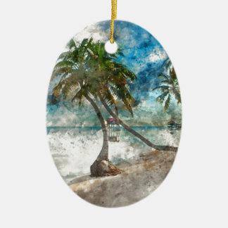 Ornement Ovale En Céramique Destination de voyage de Caye Belize d'ambre gris