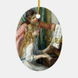 Ornement Ovale En Céramique Deux jeunes filles au piano - Renior