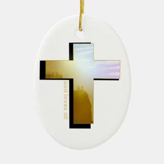 Ornement Ovale En Céramique Dieu aime tous