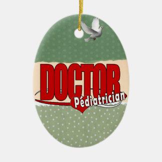 ORNEMENT OVALE EN CÉRAMIQUE DOCTEUR PEDIATRICIAN DE LOGO