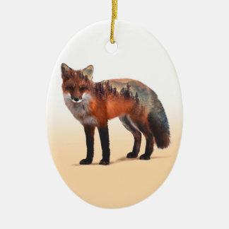 Ornement Ovale En Céramique Double exposition de Fox - art de renard - renard