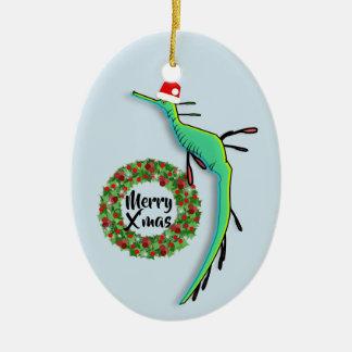 Ornement Ovale En Céramique Dragon malingre de mer de Noël