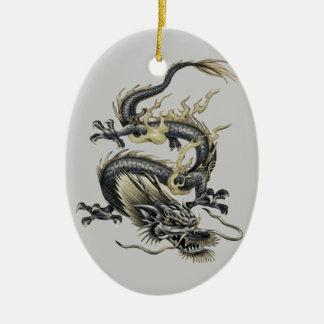 Ornement Ovale En Céramique Dragon métallique