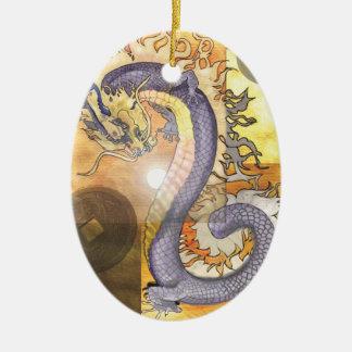 Ornement Ovale En Céramique Dragon~ornament d'or