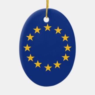 Ornement Ovale En Céramique Drapeau d'Europeanunion