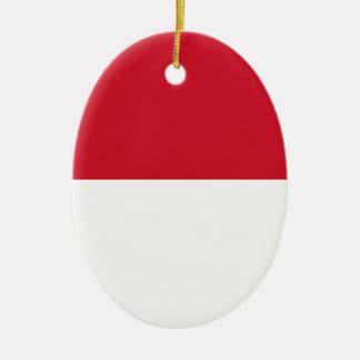 Ornement Ovale En Céramique Drapeau du Monaco - Drapeau De Monaco
