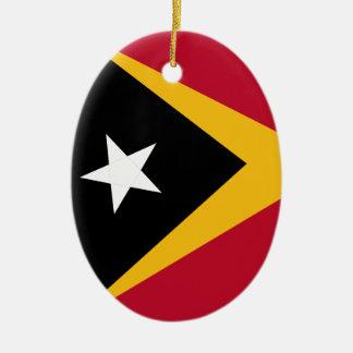Ornement Ovale En Céramique Drapeau du Timor oriental