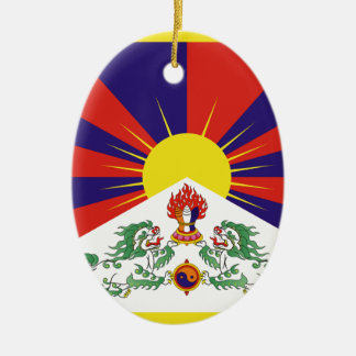 Ornement Ovale En Céramique Drapeau libre du Thibet - ་ de བཙན de ་ de རང de ་
