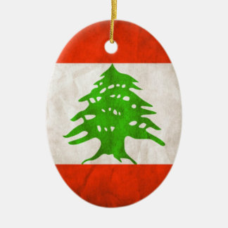 Ornement Ovale En Céramique Drapeau sale du Liban