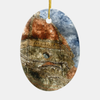Ornement Ovale En Céramique Duomo Santa Maria Del Fiore et campanile