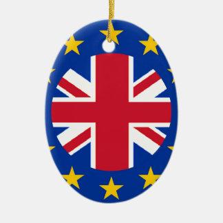 Ornement Ovale En Céramique E. - drapeau d'Union européenne - Union Jack