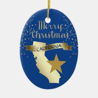 Ornement Ovale En Céramique Étoile bleue de la Californie d'or