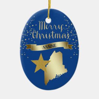 Ornement Ovale En Céramique Étoile bleue du Maine d'or