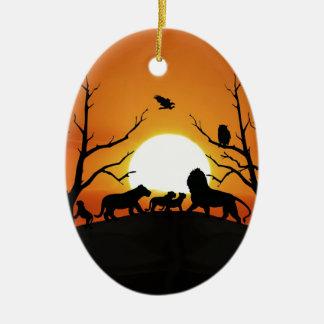 Ornement Ovale En Céramique Famille de lion au coucher du soleil Afrique