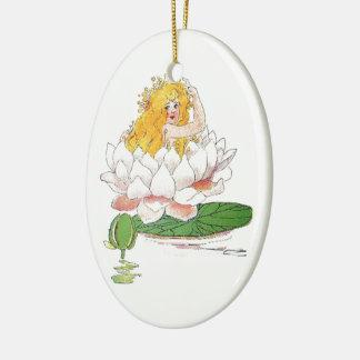 Ornement Ovale En Céramique Fille féerique florale mignonne d'enfant de fleur