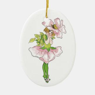 Ornement Ovale En Céramique Fille mignonne drôle florale de fleur rose rose de